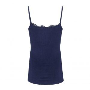 donkerblauw hemdje met spaghettibandjes en elastisch kant