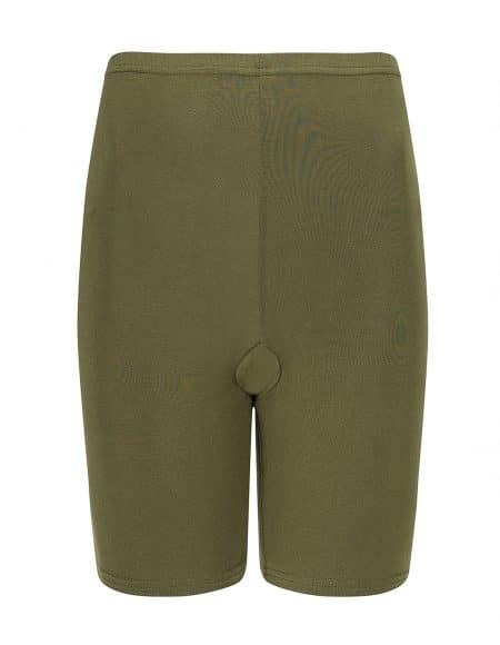legergroen broekje met pijpjes die helpen tegen schurende benen