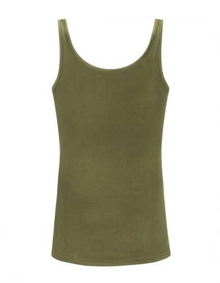 achterzijde legergroen hemdje met brede bandjes